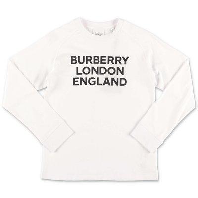 Burberry t-shirt bianca in jersey di cotone con logo