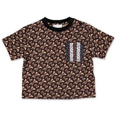 Burberry t-shirt marrone NORIE con stampa monogram in jersey di cotone