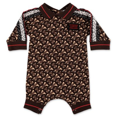 Burberry FOREST brown monogram print cotton piquet romper