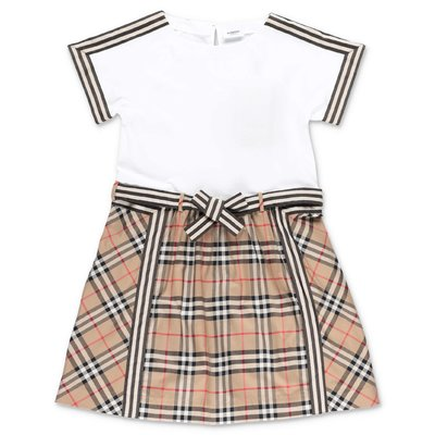 Burberry white & Icon Stripe cotton dress
