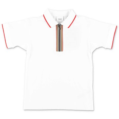 Burberry white piquet cotton polo shirt
