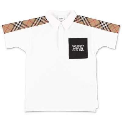 Burberry polo bianca JOHNATHAN in piquet di cotone