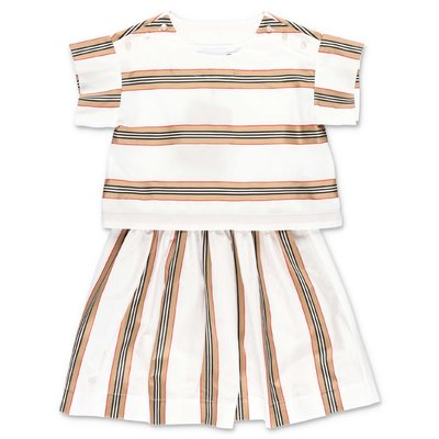 Burberry white Icon Stripe layered effect cotton poplin dress