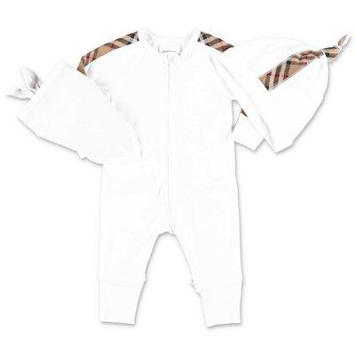 Burberry set bianco CLAUDE in cotone con tutina, cappello e bavetta