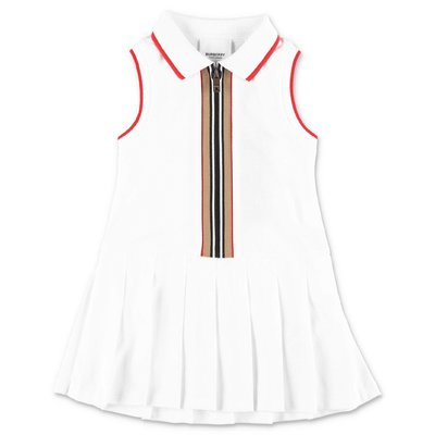 Burberry MINI MARTINA white cotton piquet dress