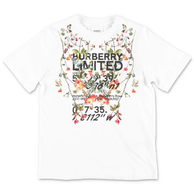 Burberry white cotton jersey FLORAL COORD t-shirt