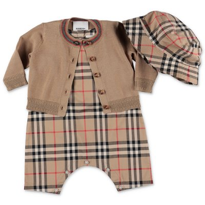 Burberry cotton set with  brown cardigan and Vintage Check bodysuit and hat