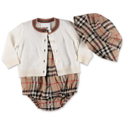 Burberry set in cotone con cardigan bianco, body e cappello Vintage Check