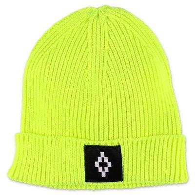 Marcelo Burlon berretto giallo fluo in maglia