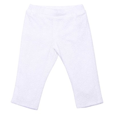 White broderie anglaise cotton pants