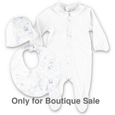 Baby Dior white & light blue cotton jersey romper, hat & bib set