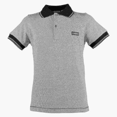 grey cotton jersey boy polo shirt