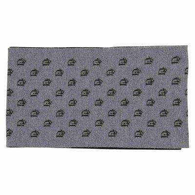 Sciarpa grigia e nera con logo in maglia di lana