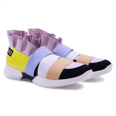 Multicolorl faux leather sneakers with ruffle