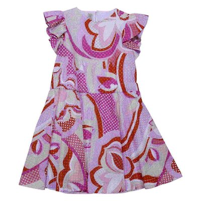 Printed eyelet cotton dress