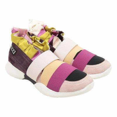Sneakers multicolor con dettagli in camoscio
