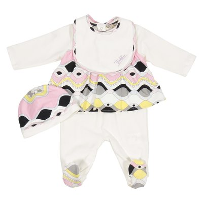 Printed cotton romper bib & hat set