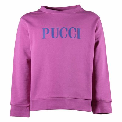 Fuchsia logo detail cotton sweatshirt