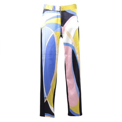 Abstract print viscose pants