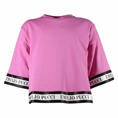 T-shirt fucsia ampia in jersey di cotone con logo
