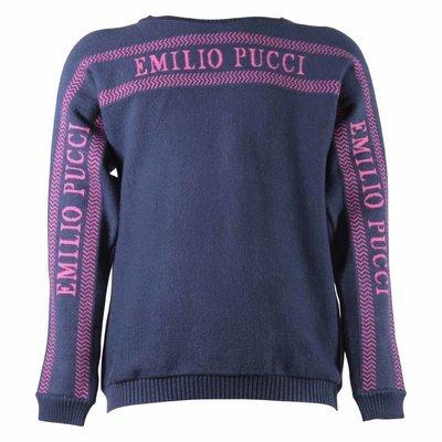 Blue navy viscose blend knit jumper