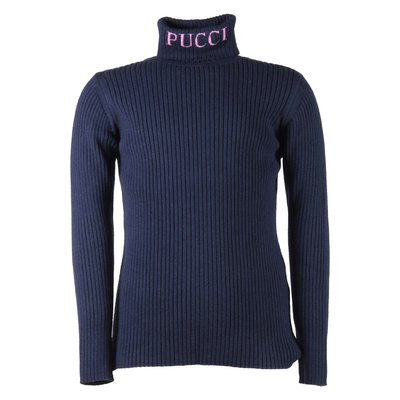 Blue navy viscose wool high collar knit jumper
