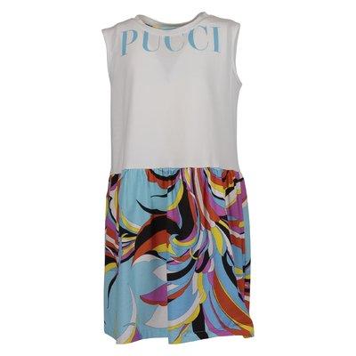 White & abstract print logo cotton dress