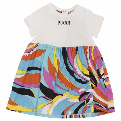 White & abstract print logo cotton jersey dress