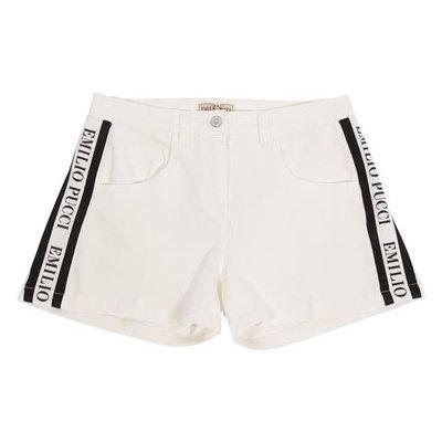 Shorts bianco in denim di cotone con logo