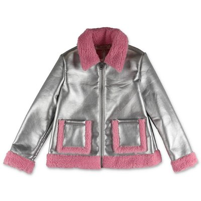 Emilio Pucci silver eco shearling jacket with lining