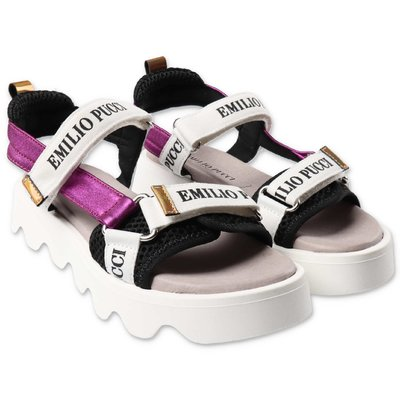 EMILIO PUCCI white sandals with fuchsia detail