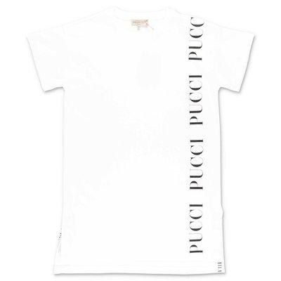 EMILIO PUCCI abito bianco stile t-shirt in jersey di cotone