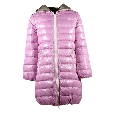 Pink nylon hooded down jacket
