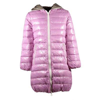 Piumino rosa in nylon con cappuccio
