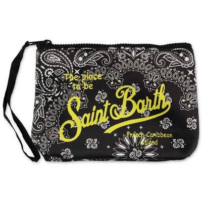 MC2 Saint Barth black paisley print scuba fabric purse