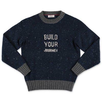 BRUNELLO CUCINELLI pullover blu in maglia di lana e cashmere