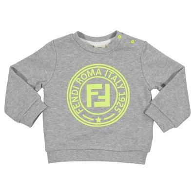 Felpa grigio melange in cotone con logo FF
