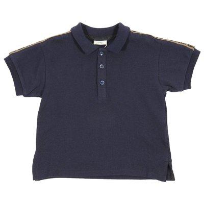 Polo blu navy in piquet di cotone con dettaglio logo