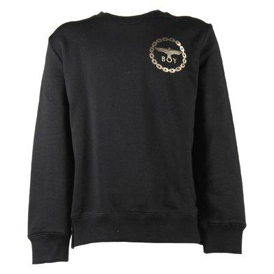 Felpa nera in cotone con logo