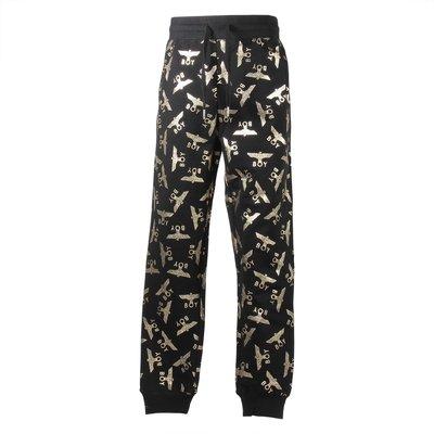 Pantaloni neri in felpa di cotone con dettaglio logo oro