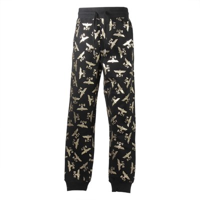 Black cotton sweatpants with golden logo detail