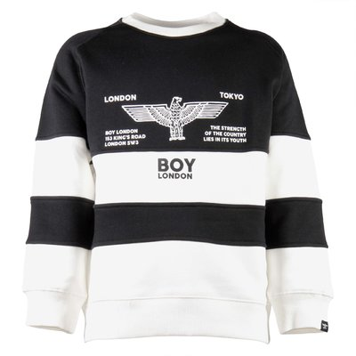 White & black cotton logo rugby sweatshirt
