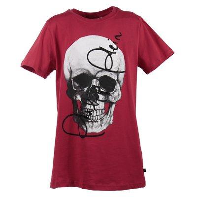 T-shirt rossa skull in jersey di cotone