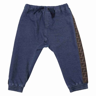 Denim-look blue cotton jersey baby boy joggers