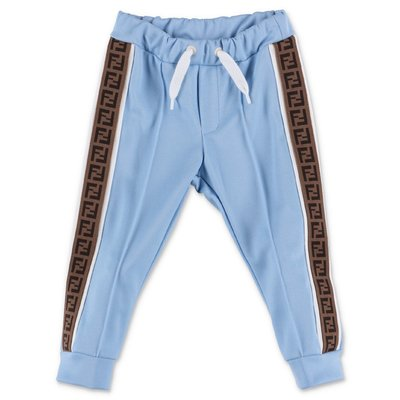 FENDI sky blue techno fabric pants