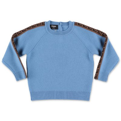 FENDI sky blue pure virgin wool zucca print detail knit jumper