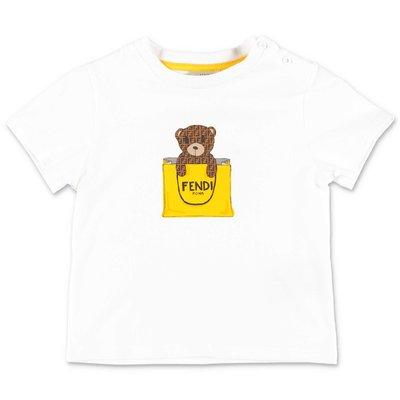 FENDI t-shirt bianca in jersey di cotone