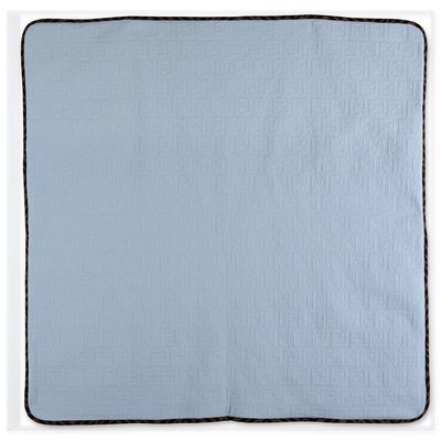 FENDI sky blue quilted cotton blanket