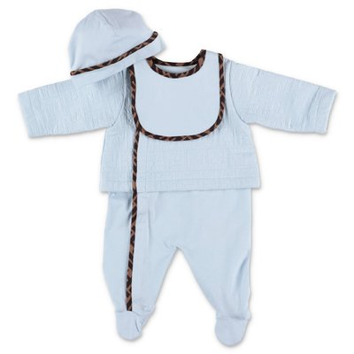FENDI sky blue cotton jersey three piece set with romper, hat & bib