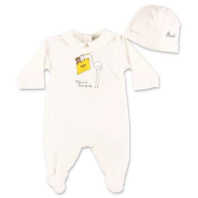 FENDI white cotton jersey two piece set with romper and hat